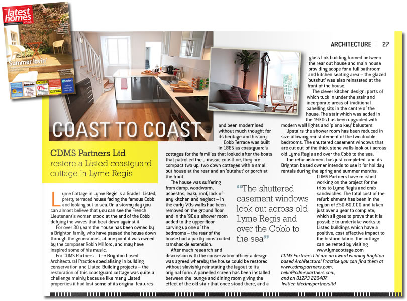 Latest Homes Magazine article featuring Lyme Cottage renovation project